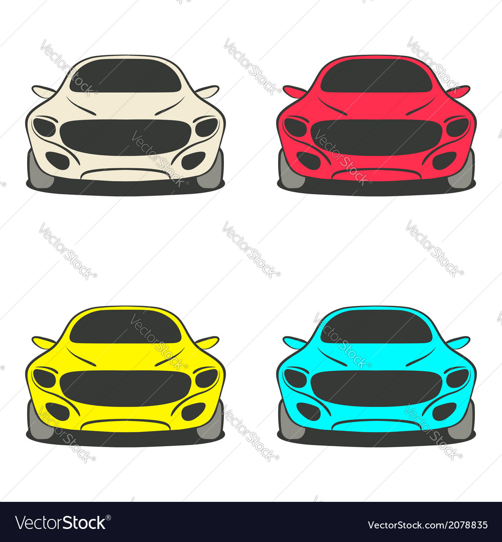 Car Set Four Colors Vector Image