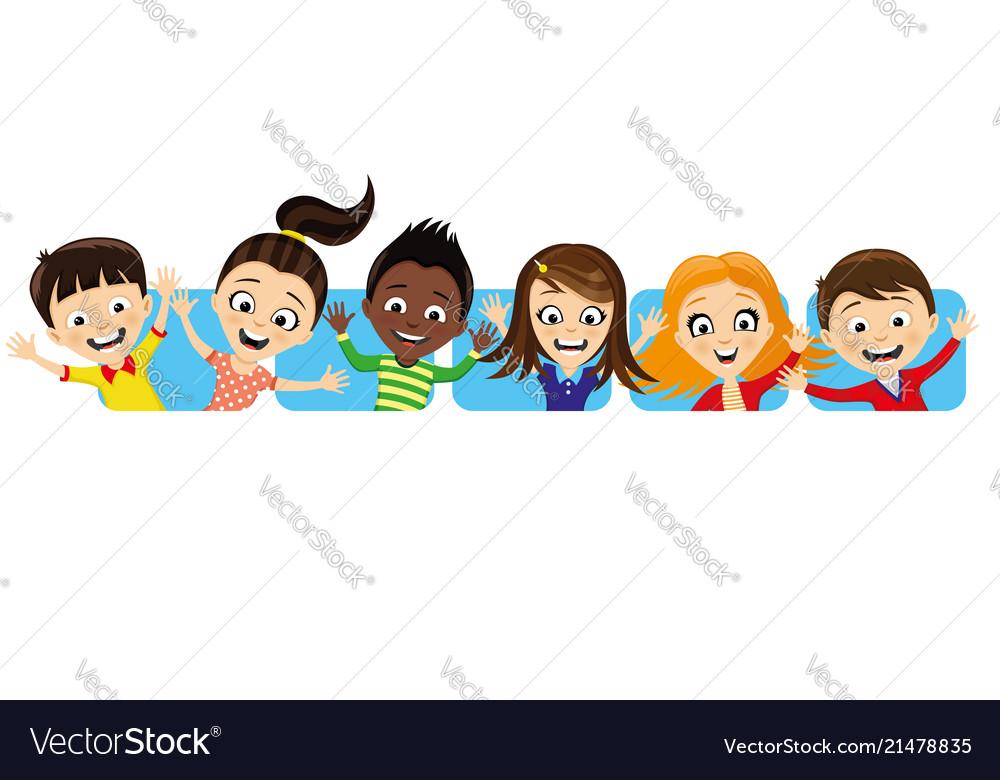 Cheerful children waving their hands