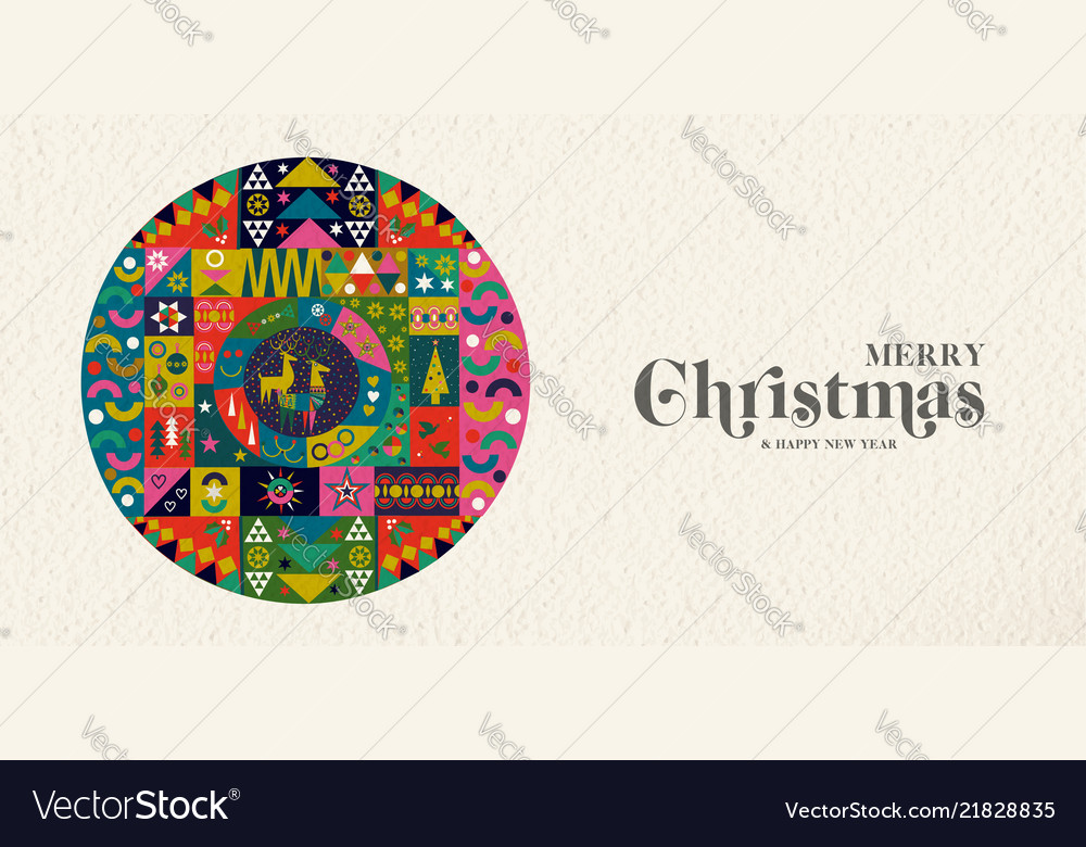 Christmas and new year retro folk art decoration