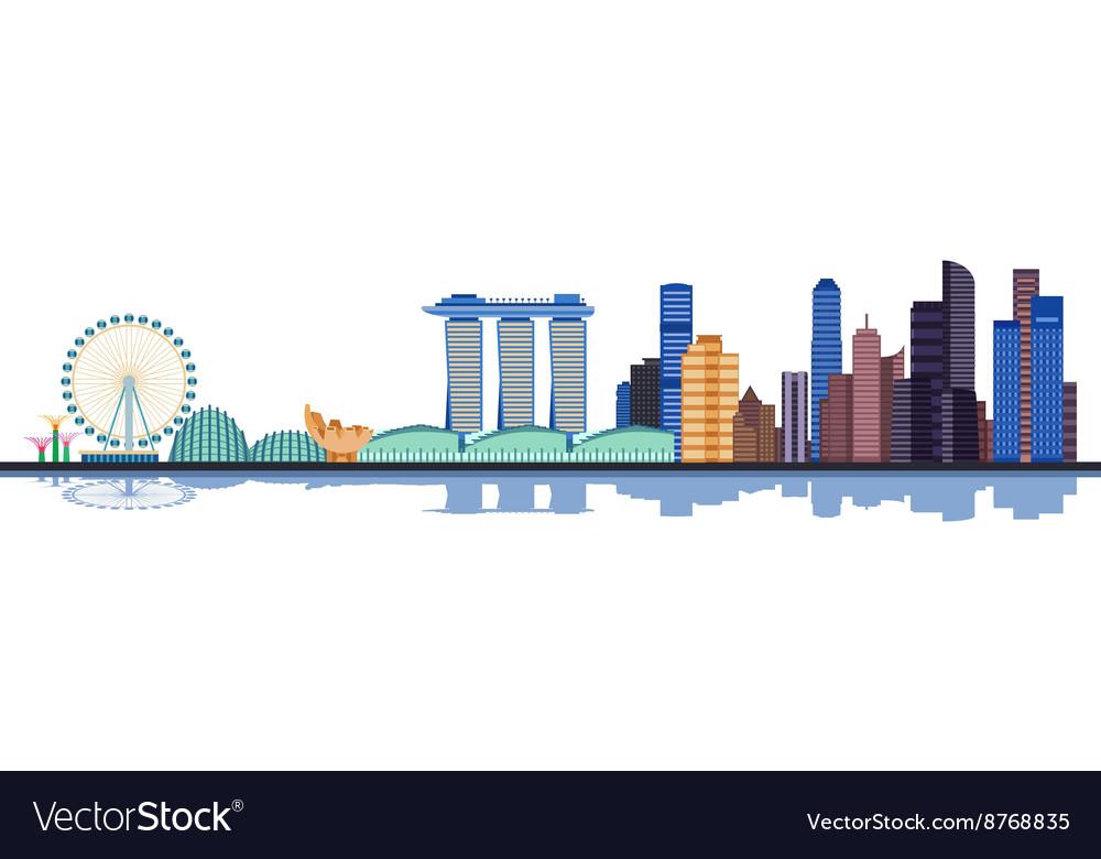 Color singapore city skyline vector image