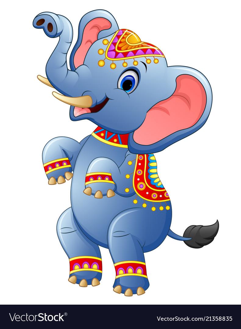 Cute elephant cartoon standing