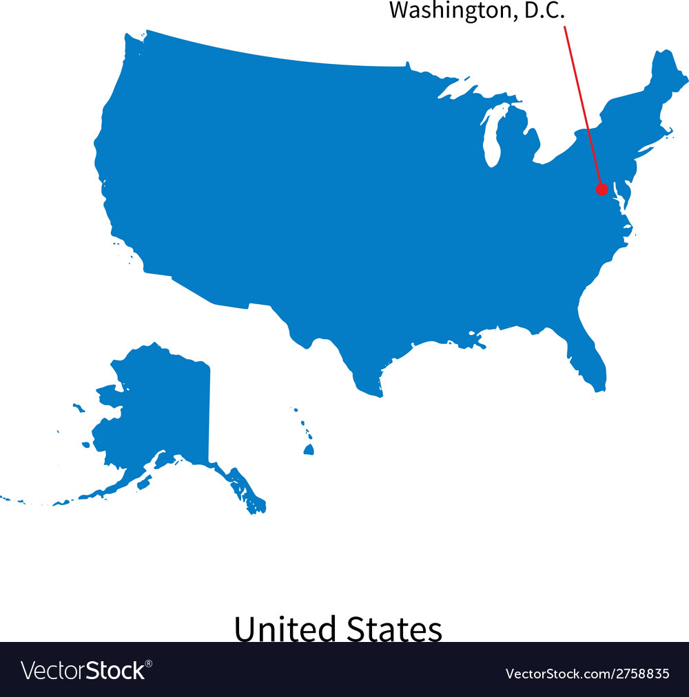 Capital Of Usa Map.Detailed Map Of United States And Capital City Vector Image