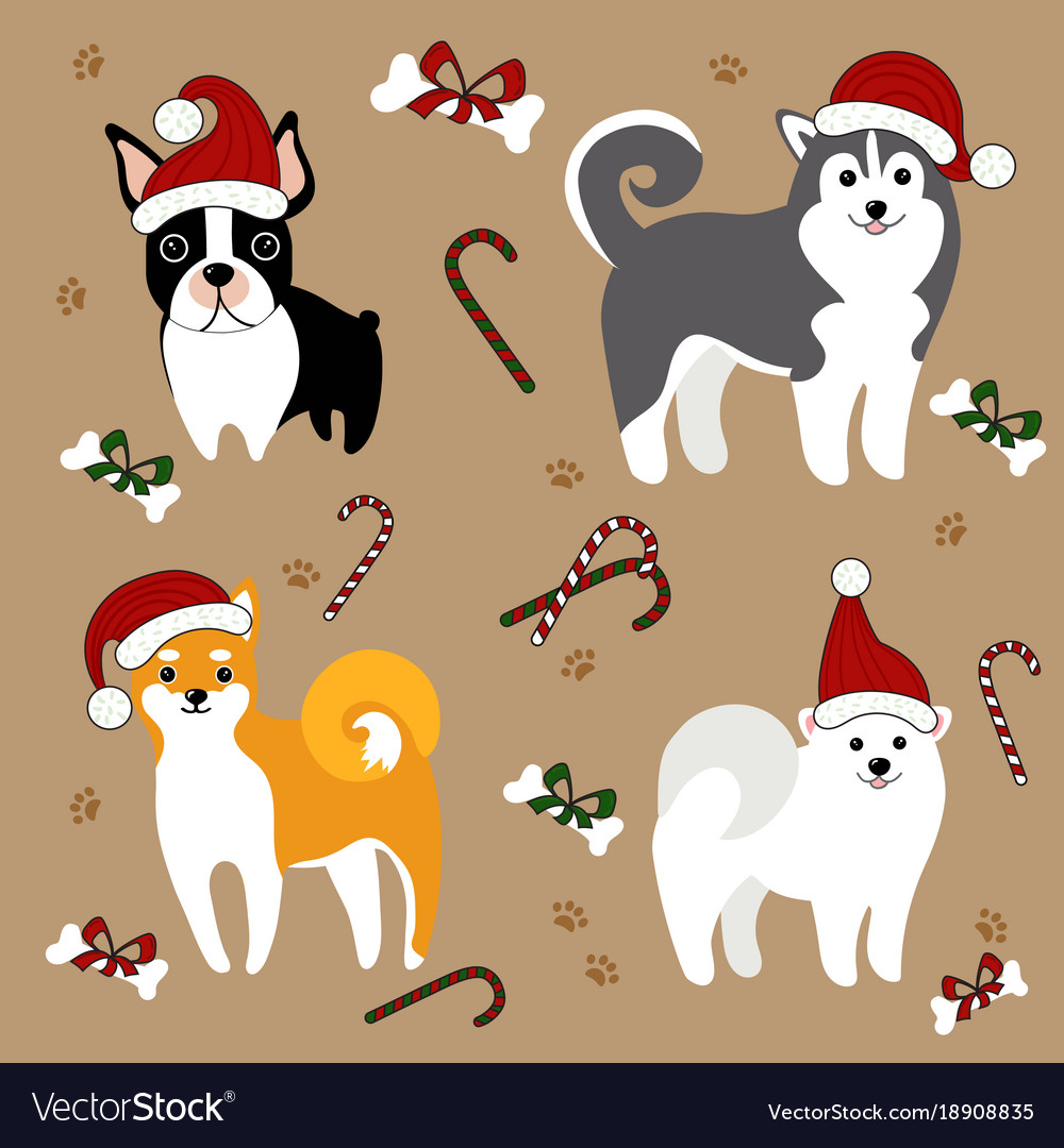 Dogs in santa hats christmas card Royalty Free Vector Image