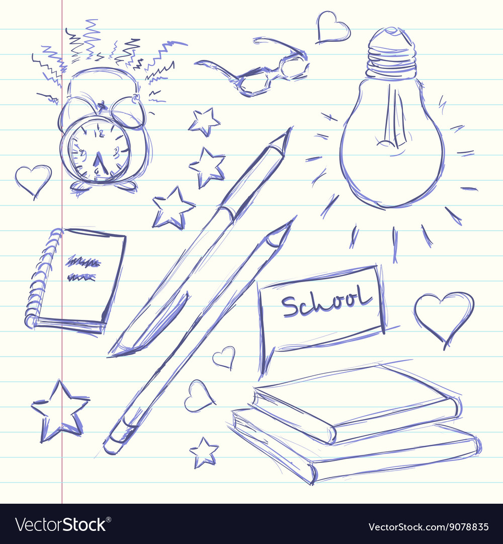 Hand drawn back to school Alarm Clock glasses