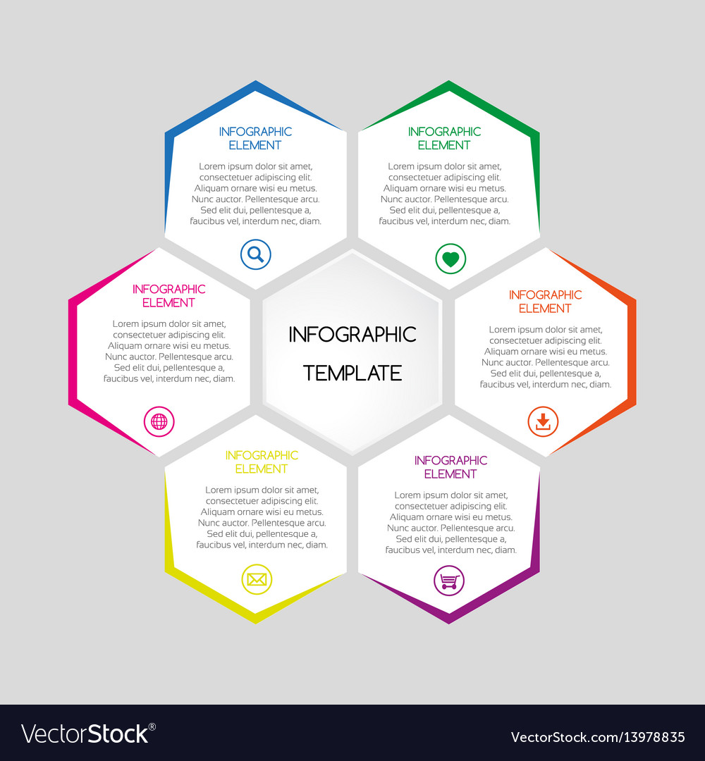 Infographic template with hexagons