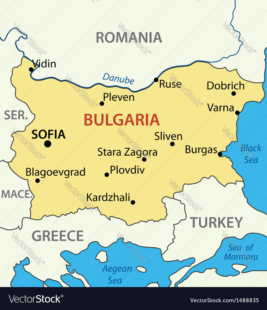 Picture of: Map Republic Of Bulgaria Royalty Free Vector Image