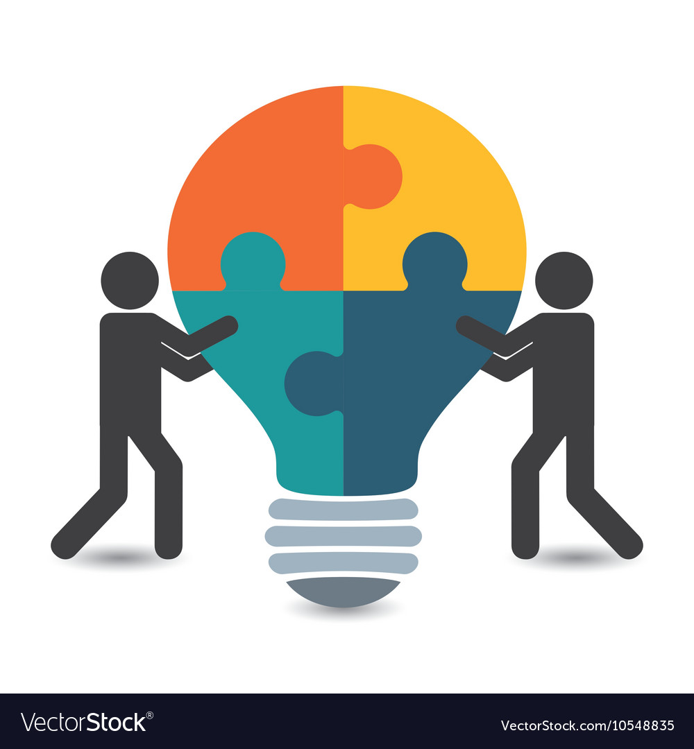 Pictogram puzzle bulb teamwork support design