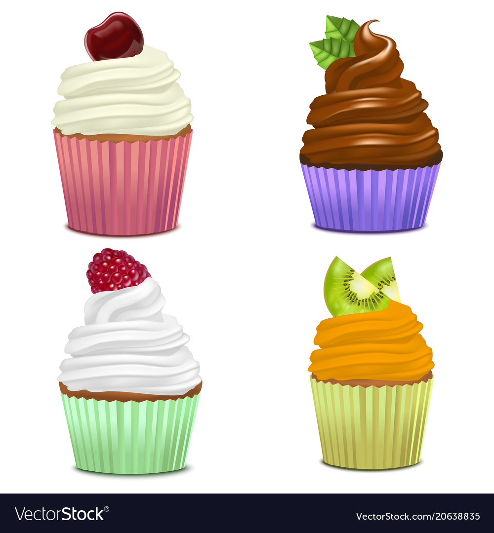 Realistic detailed 3d cupcakes set
