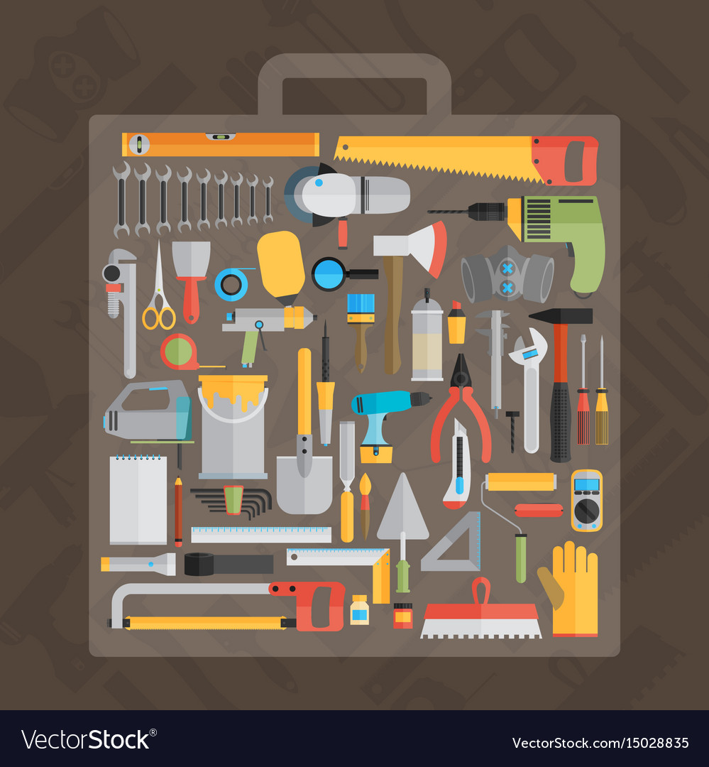 Repair and construction with working tools icons