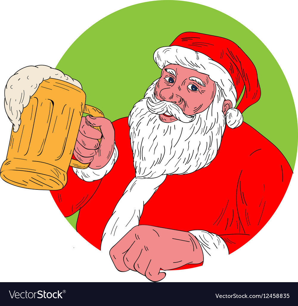 Santa Claus Drinking Beer Drawing vector image