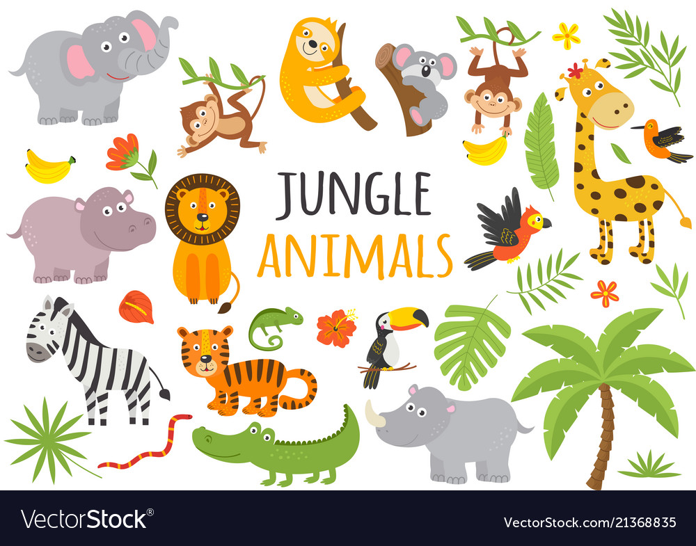 Set of isolated jungle animals and tropical plants