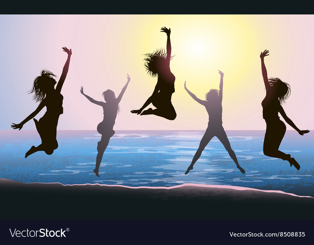 Silhouettes of Girls Jumping on the Beach