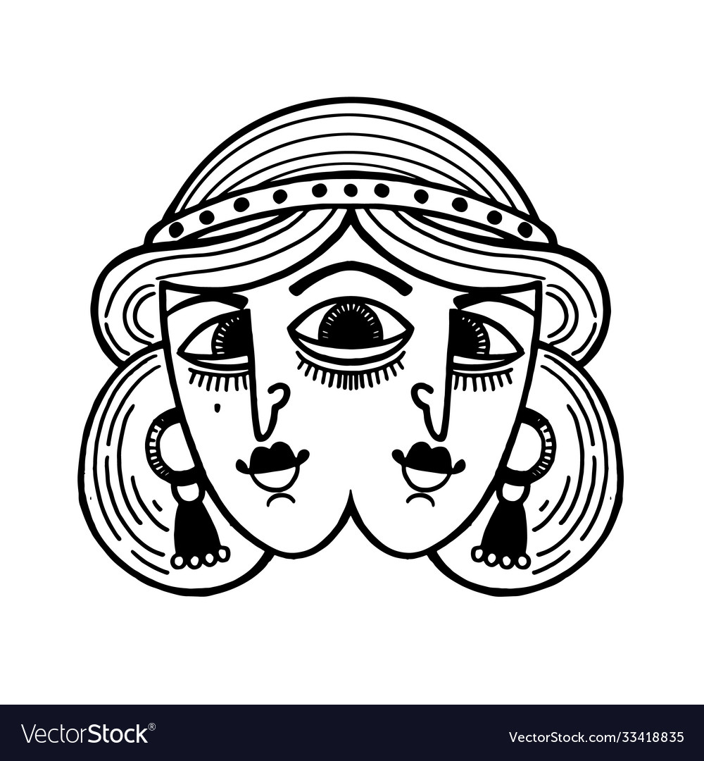 Tattoo with magic surreal girl with three eyes