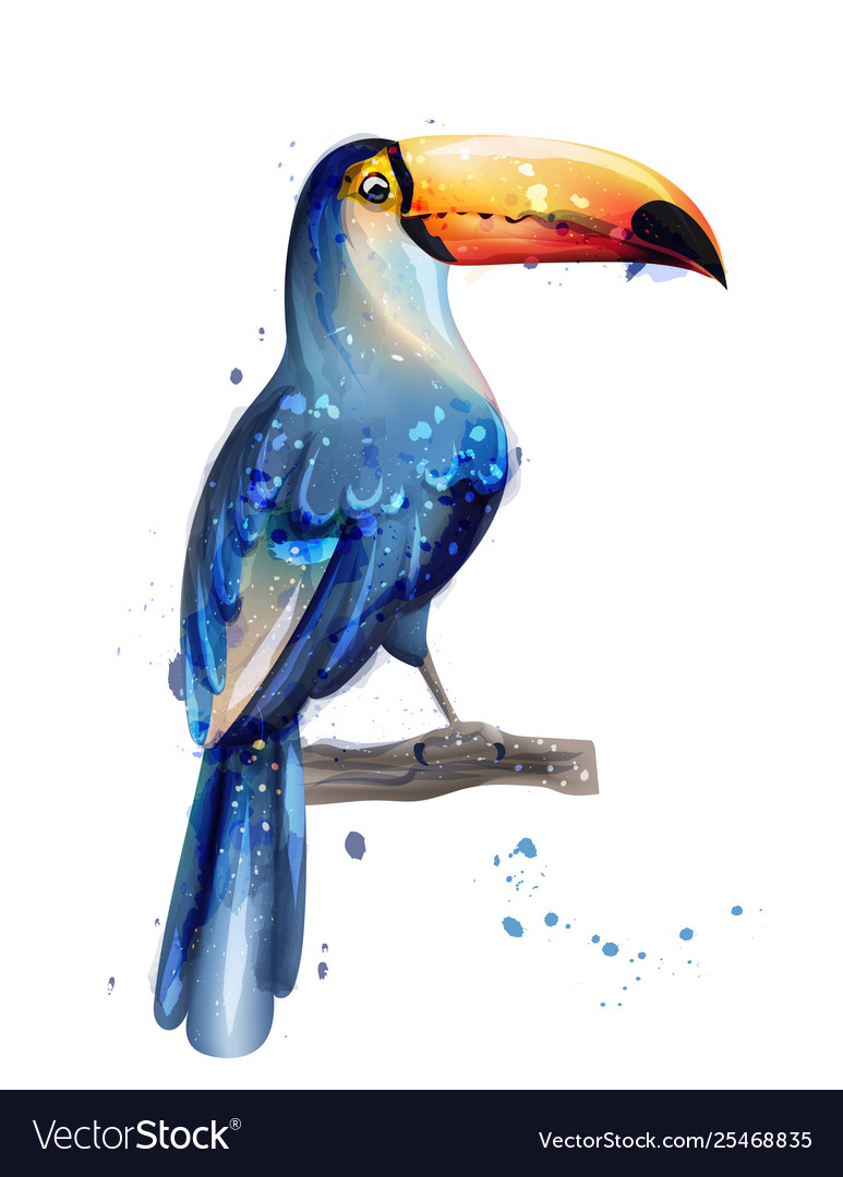 Toucan watercolor summer card with parrots
