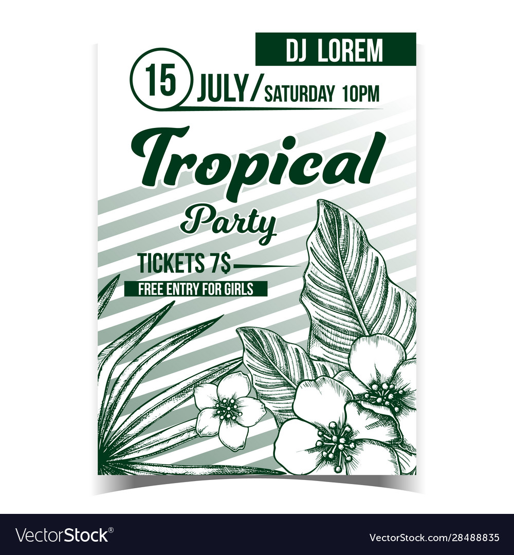 Tropical exotic leaves and flowers poster