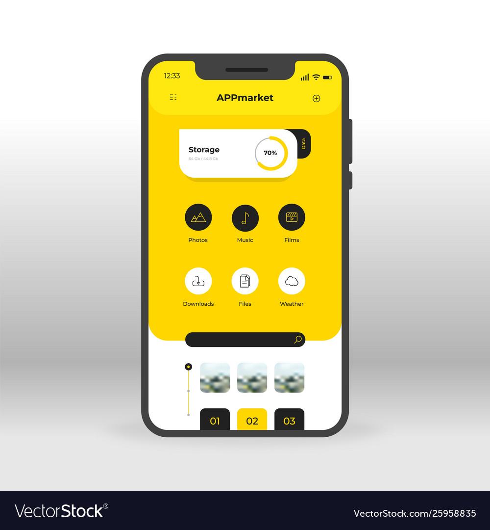Yellow app download market ui ux gui screen for