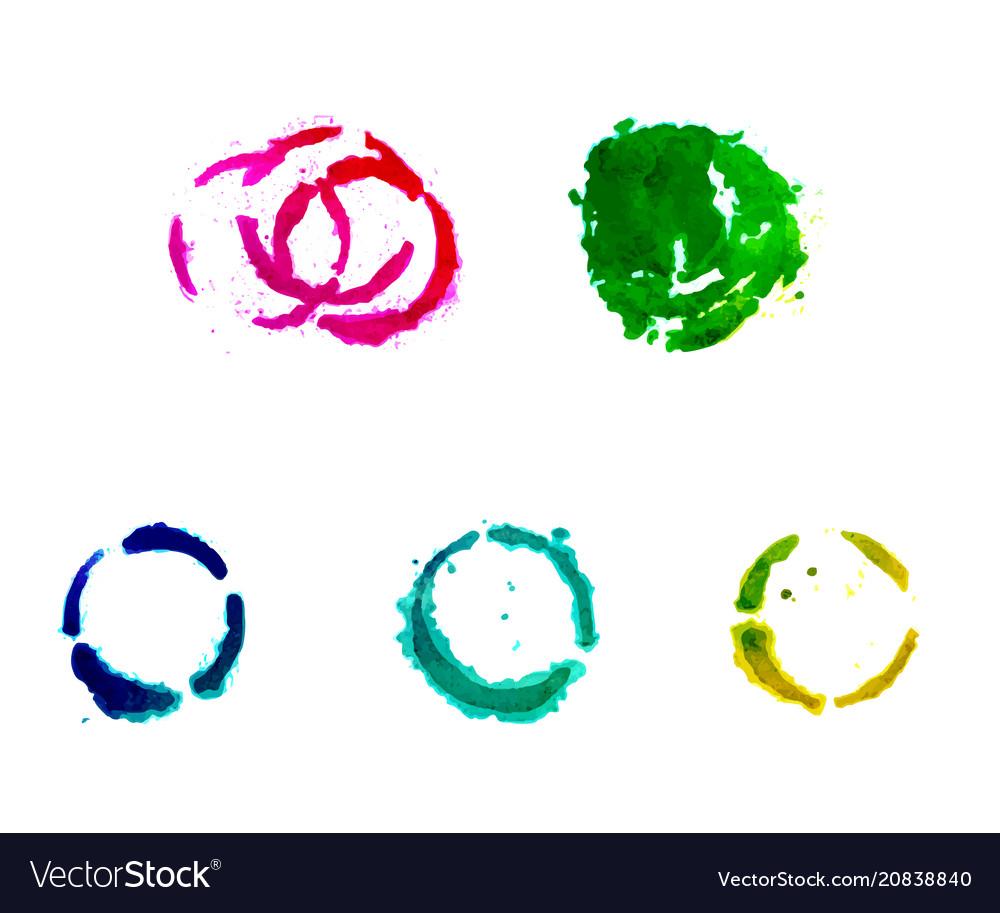 A set of gouache round spots