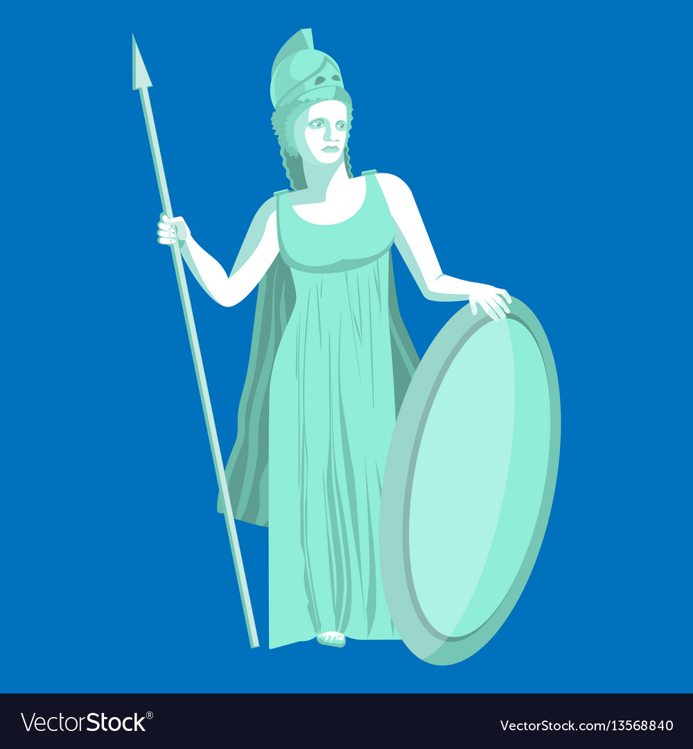 Athena or athene marble statue on blue background