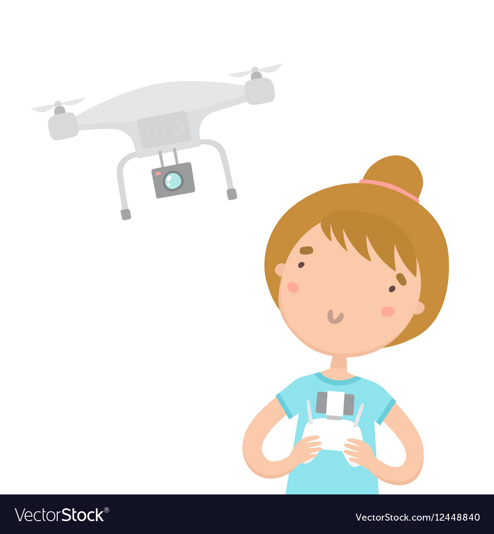 Girl with remote controlling aerial drone