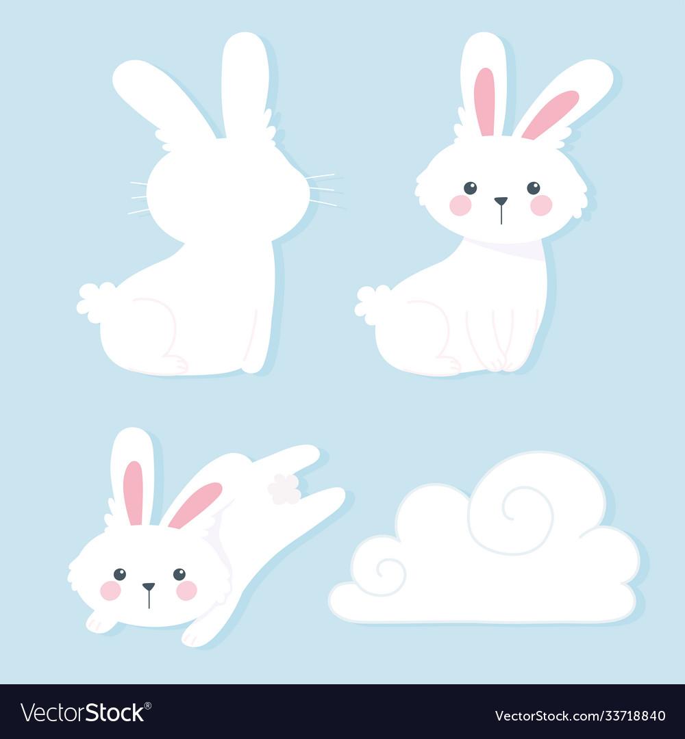 Happy mid autumn festival white rabbits cartoon