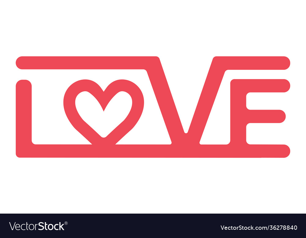 Logo is a sign love lettering red love