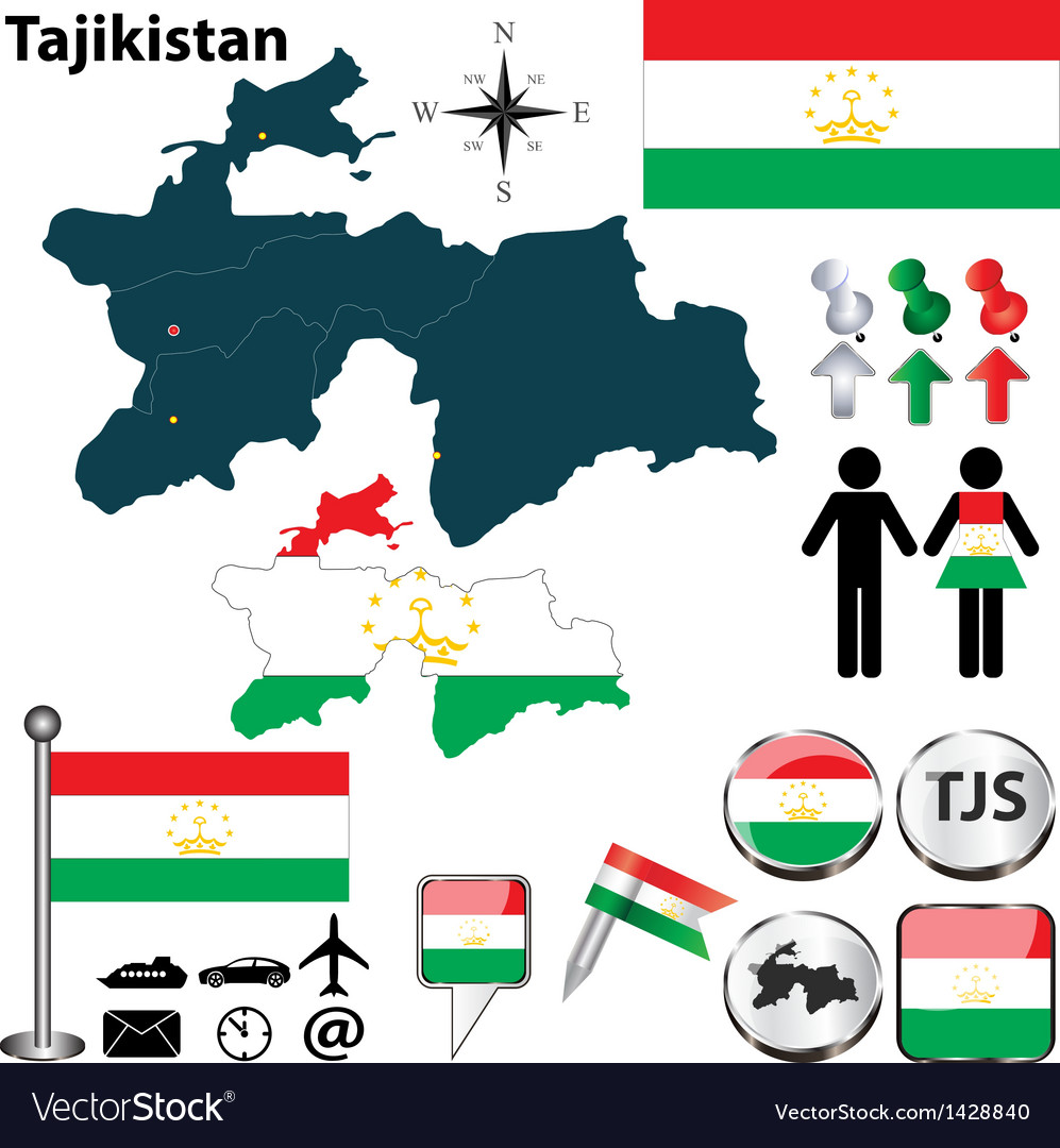 Map of Tajikistan Royalty Free Vector Image VectorStock