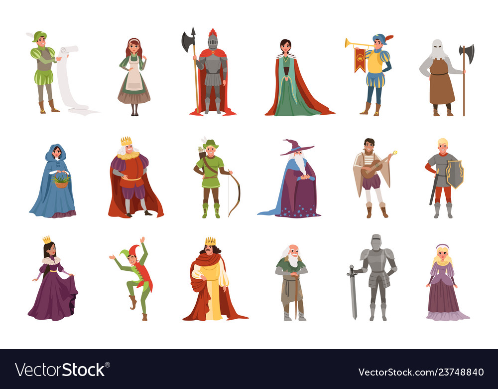 Medieval people characters set european middle
