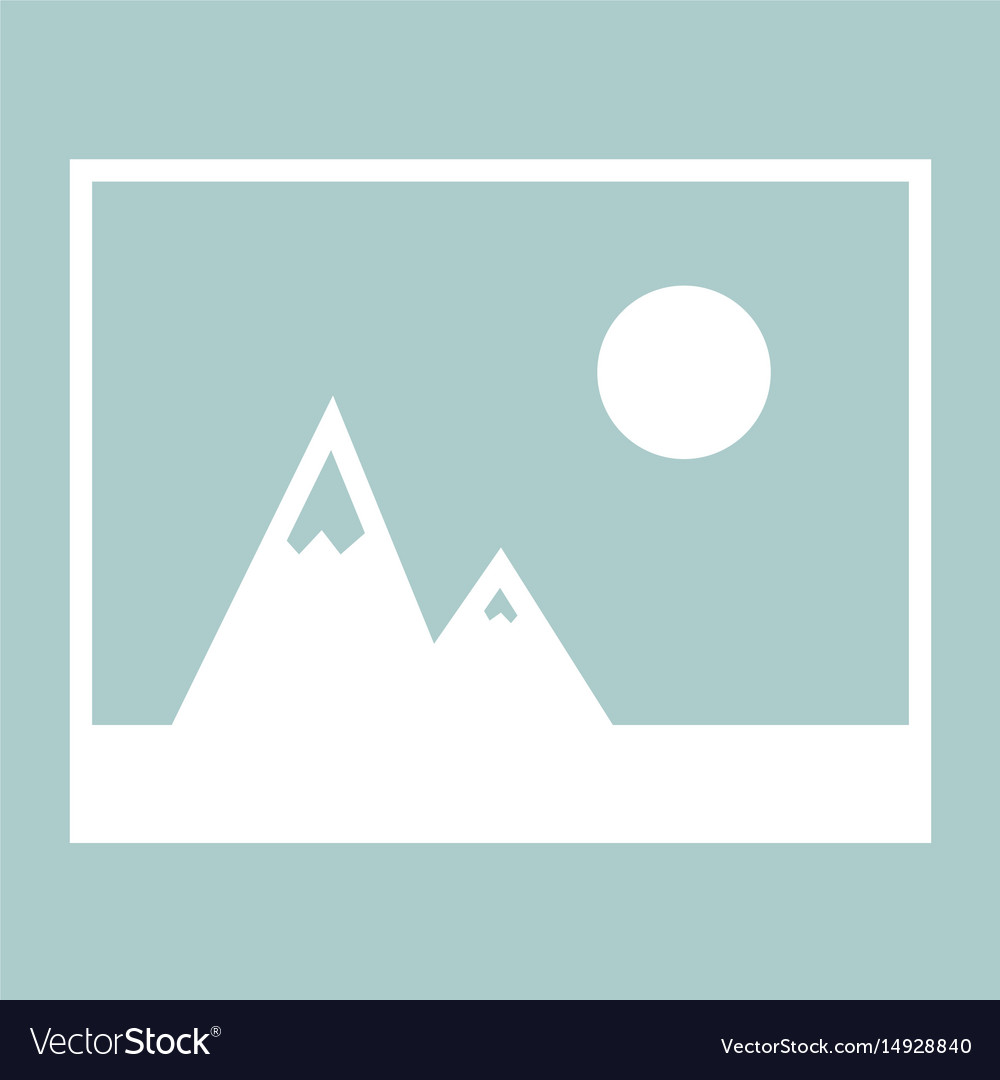 Picture of mountains and sun icon the white color