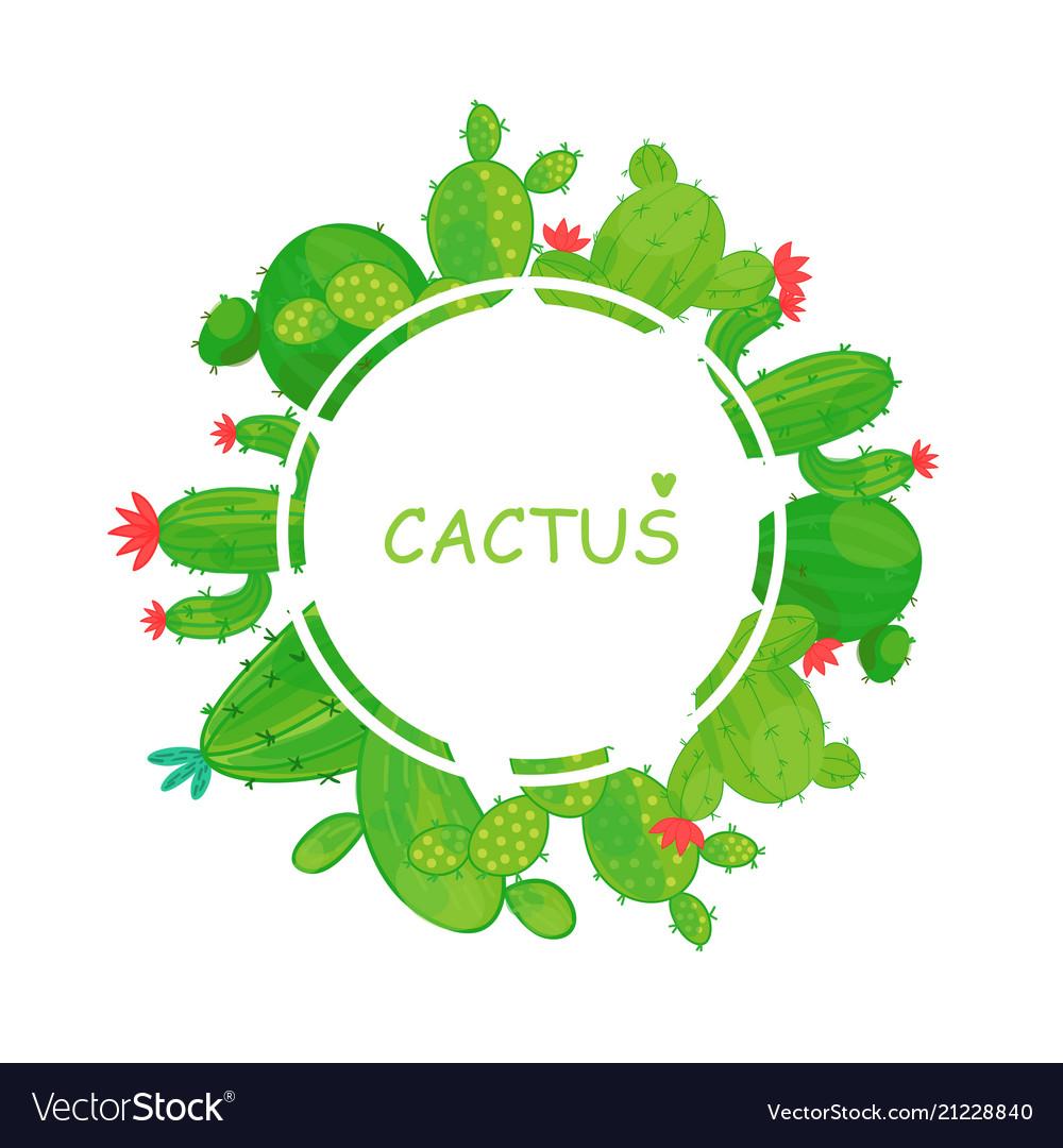 Round frame of cacti border