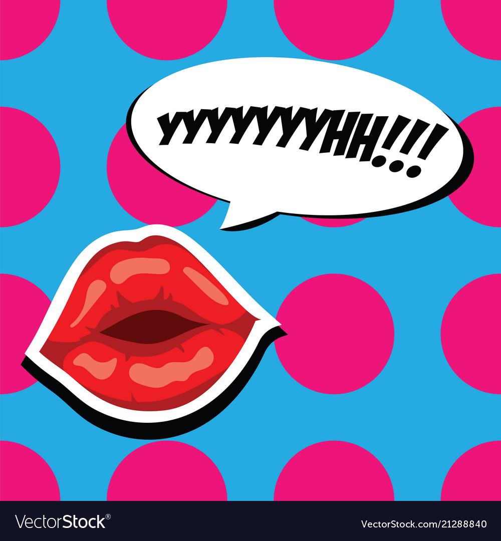 Sexy red lips and comic speech bubble beautiful