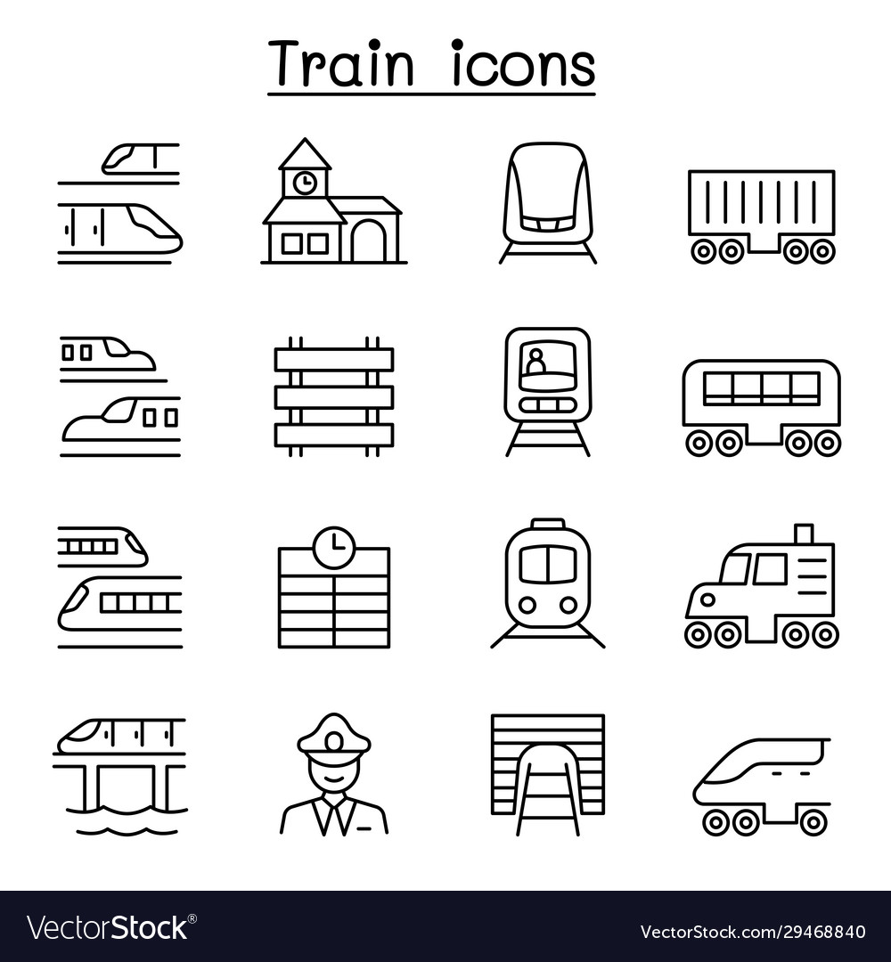 Train icons set in thin line style