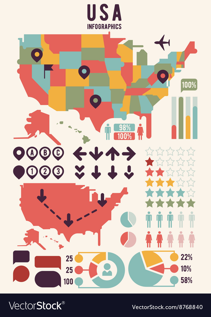 Map Of America Usa.United States Of America Usa Map With Infographics