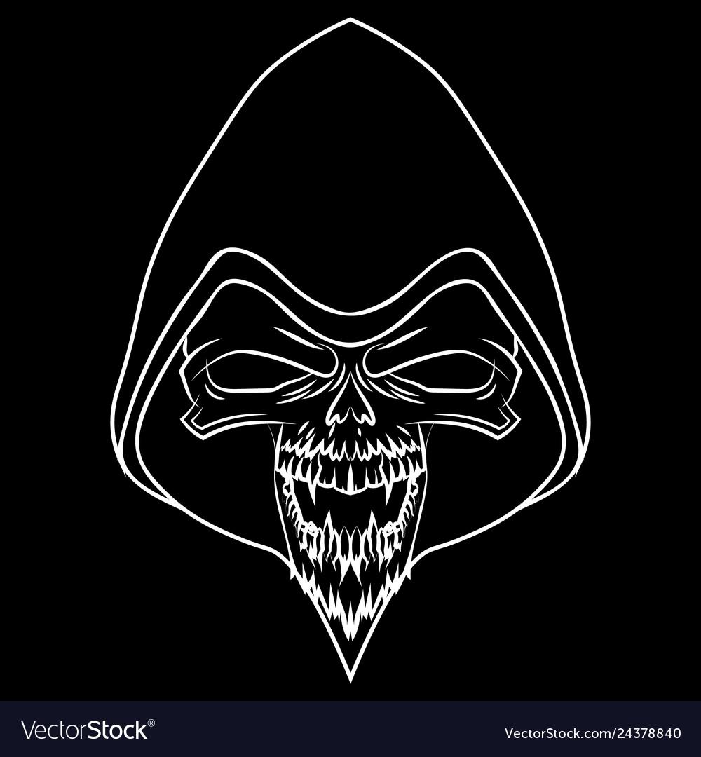White skull on black background