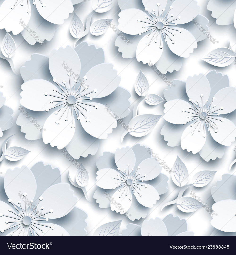 Beautiful seamless pattern with white grey sakura