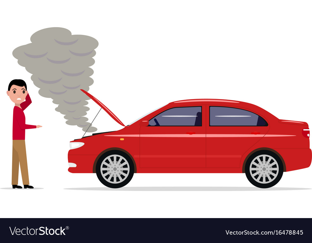 Cartoon Man Standing With A Broken Car Royalty Free Vector