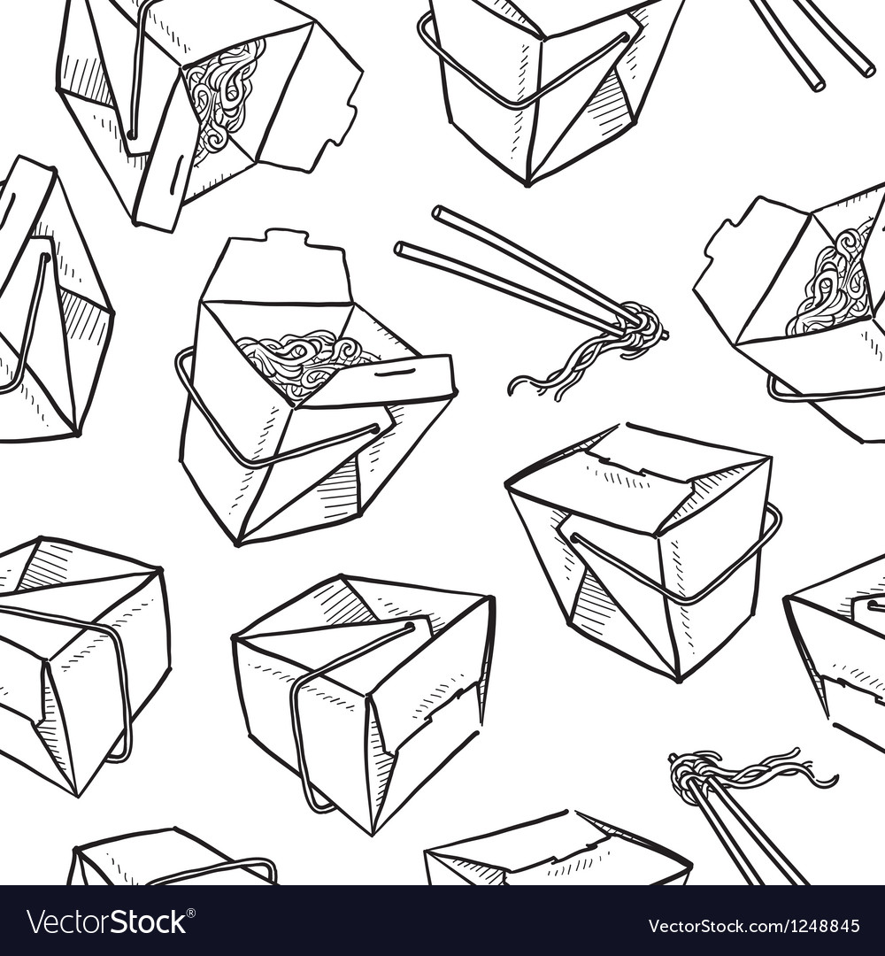 Chinese food boxes pattern