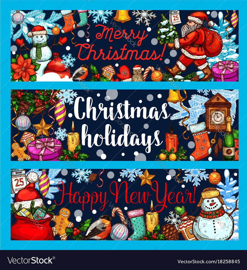 Christmas winter holidays sketch banners