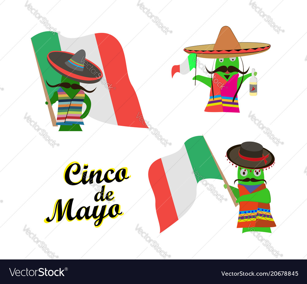Concept on cinco de mayoa set of characters in