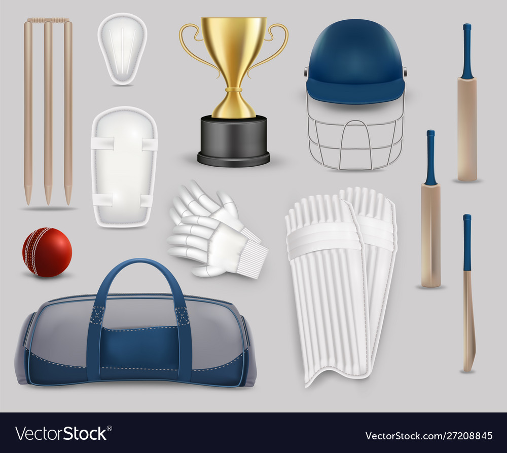 Cricket game equipment set isolated