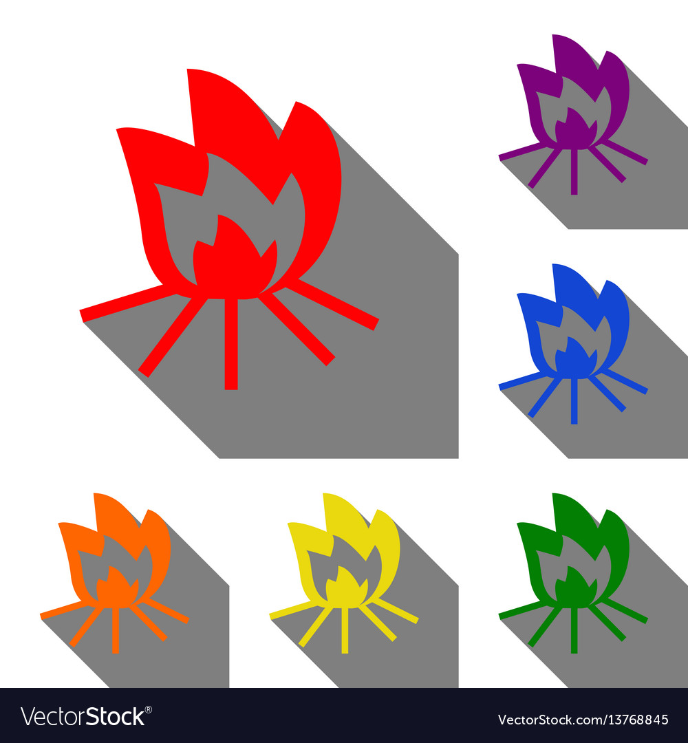 Fire sign set of red orange yellow green blue vector image