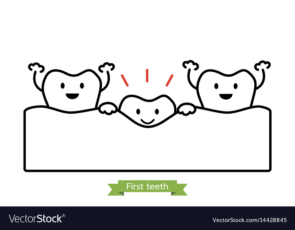 First teeth or baby tooth - cartoon outline style vector image