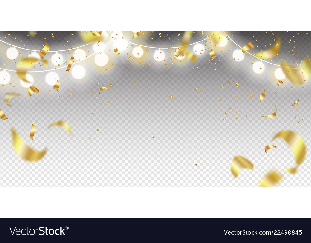 Garland and golden confetti on a transparent