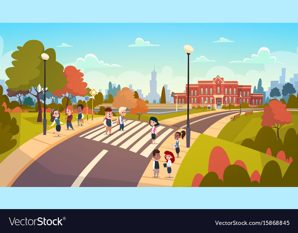 Group of pupils walking on crosswalk mix race vector image