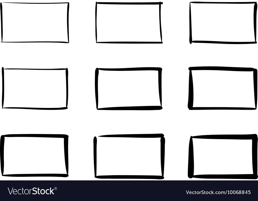 Hand-drawn rectangles set