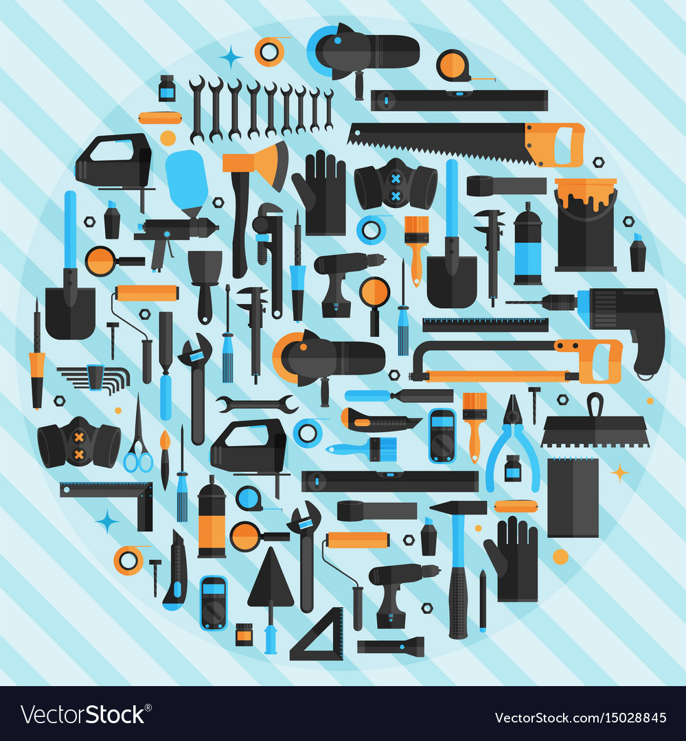 Hand tools background flat design eps10 format vector image