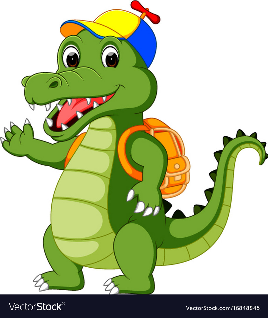 Happy crocodile cartoon going to school Royalty Free Vector - photo#8