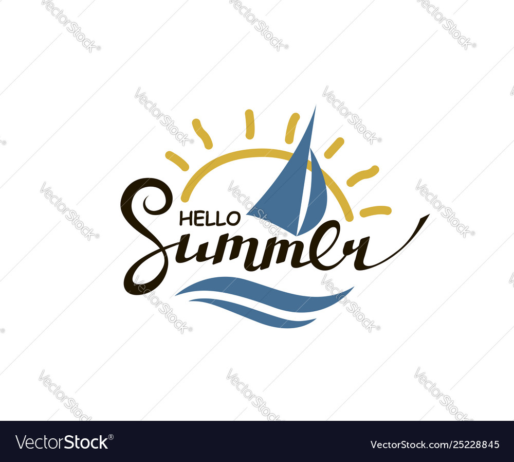 Hello summer lettering with sun