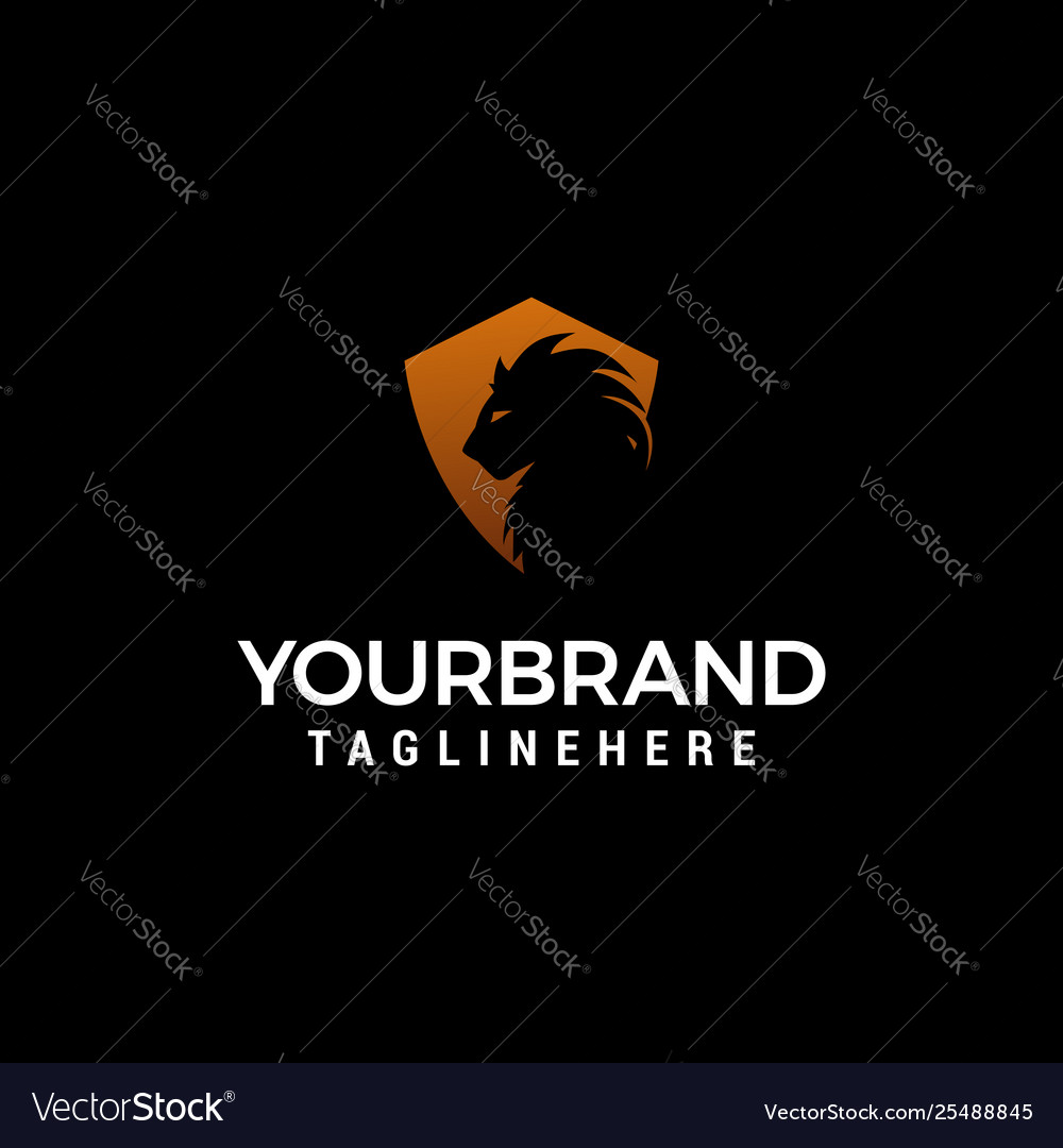 Lion shiled logo design concept template