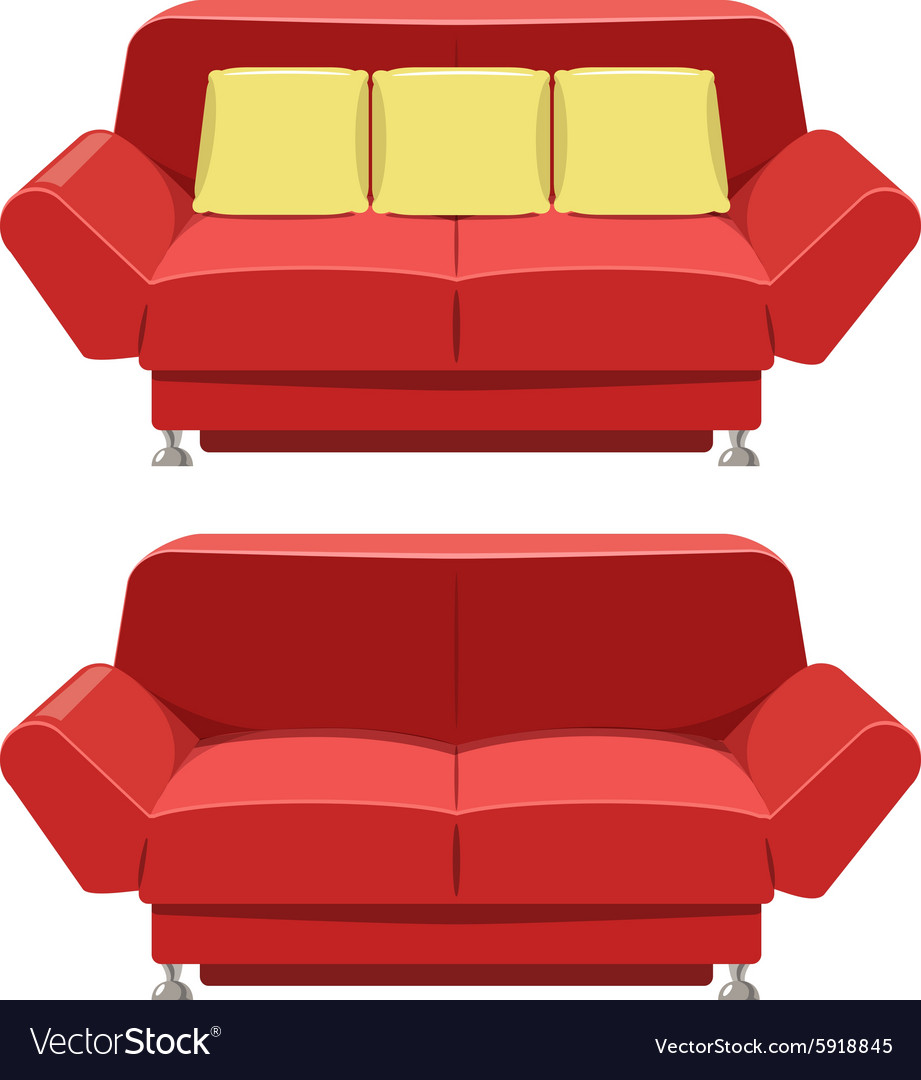 Red sofa couch design Front view