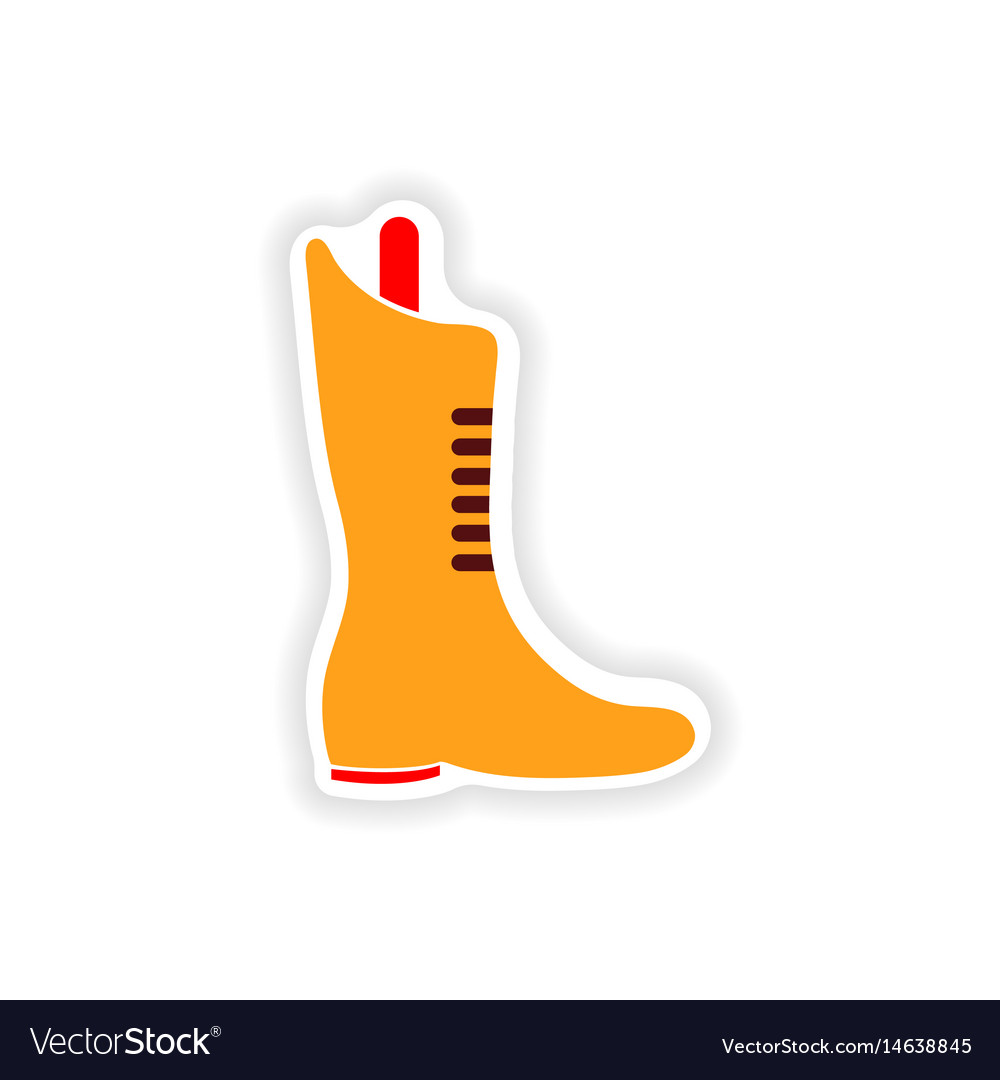 Stylish paper sticker on white background boots